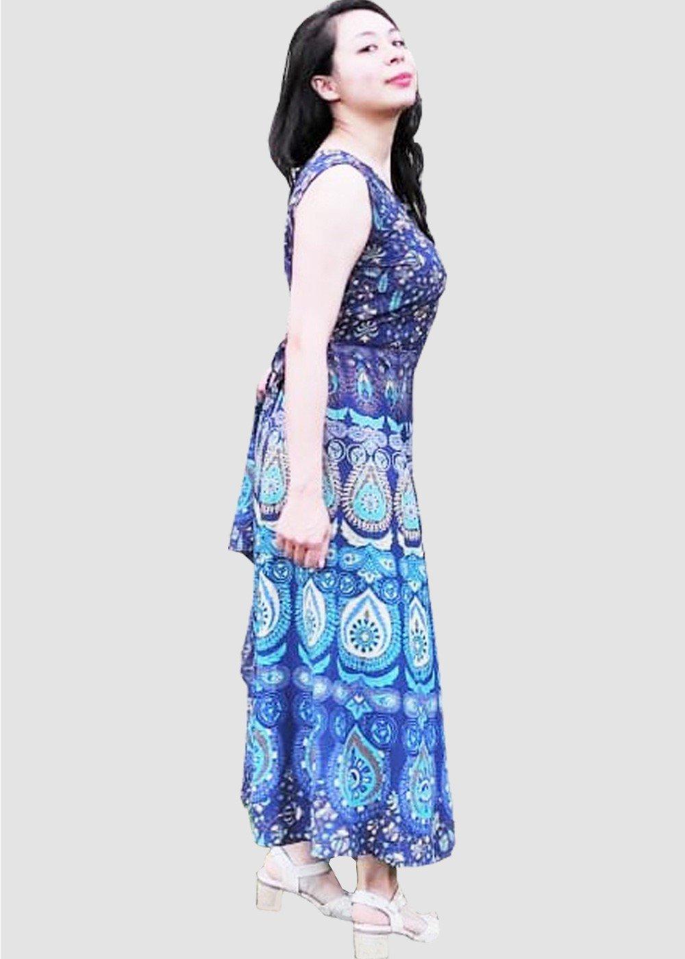 Blue Floral Mandala Block Print Handmade Midi Dress