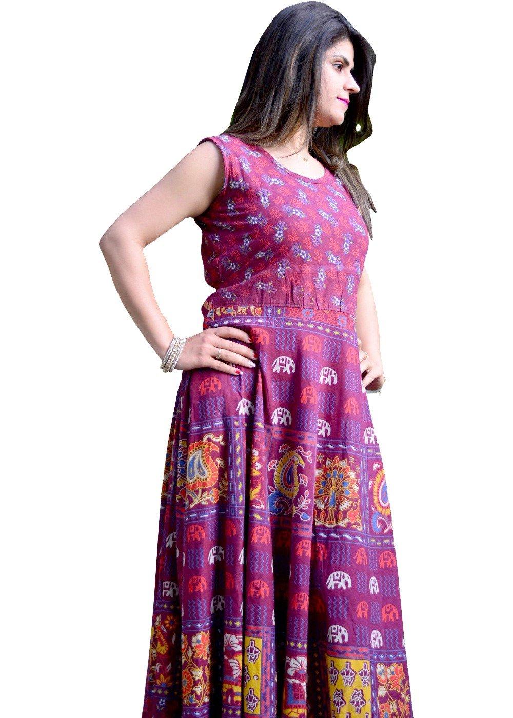 Classic Geometric Print Handmade Maxi Dress