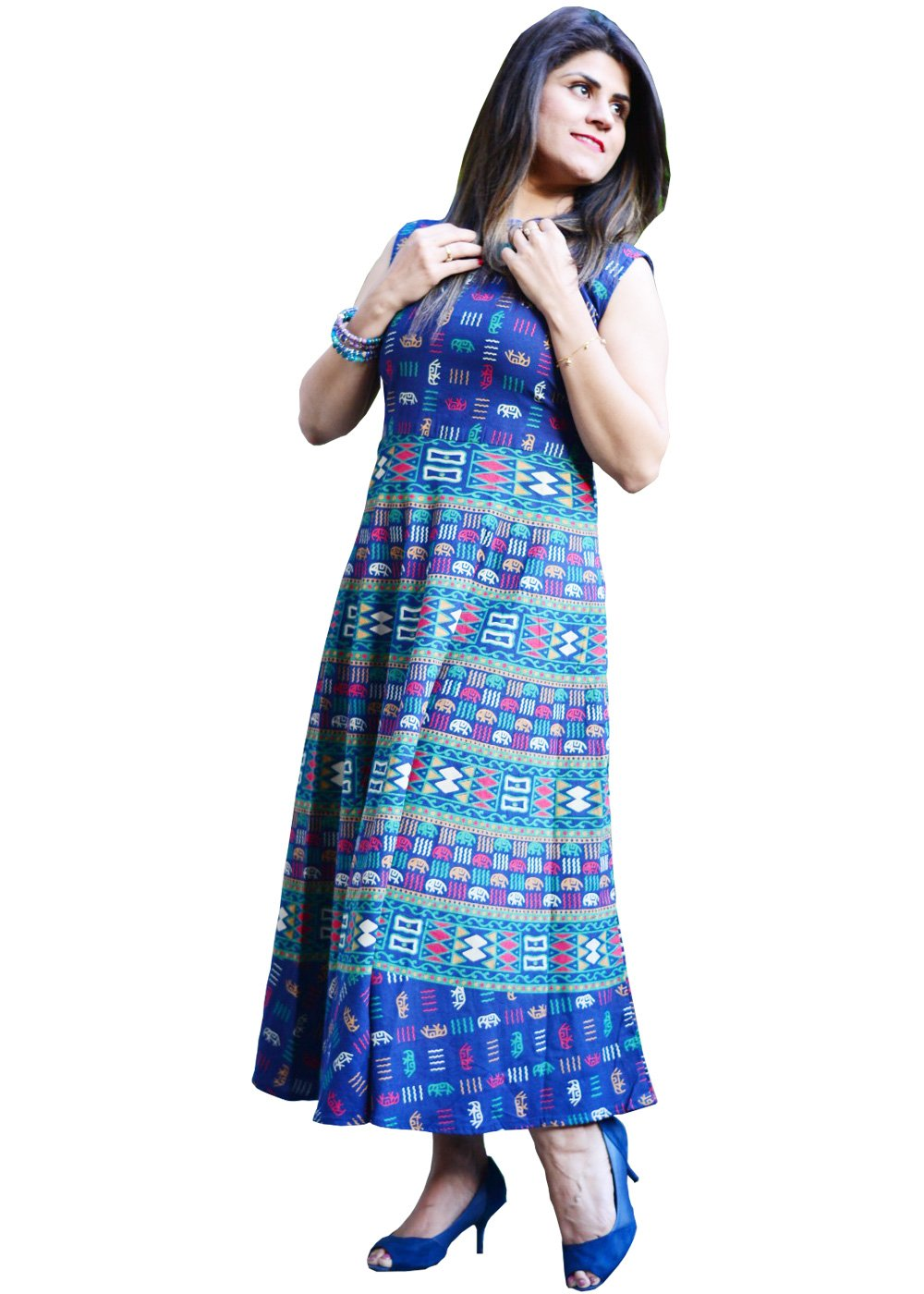 Rectangular Mandala Block Print Navy Blue Handmade Midi Dress