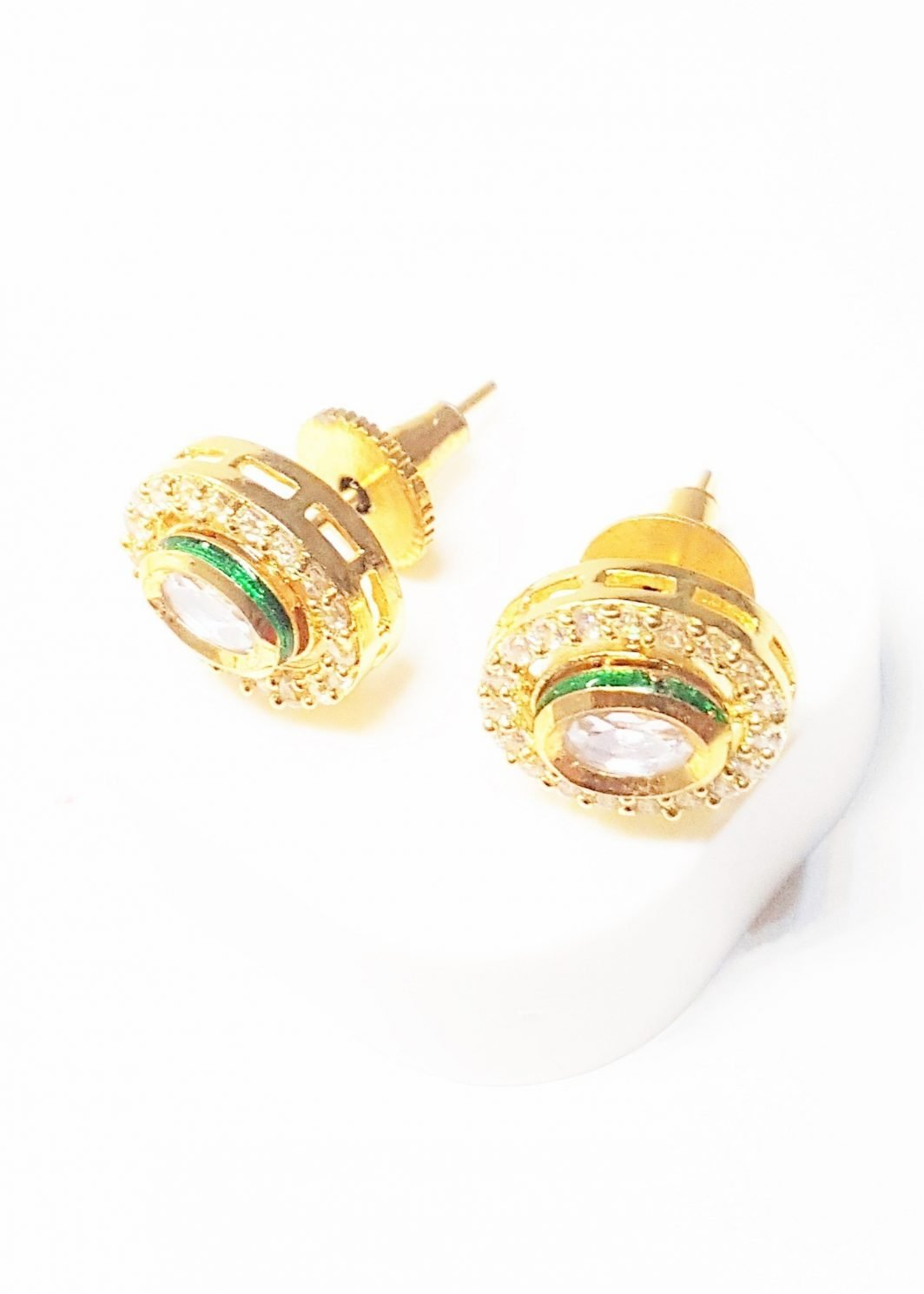 Oval Shaped White Stud Earrings