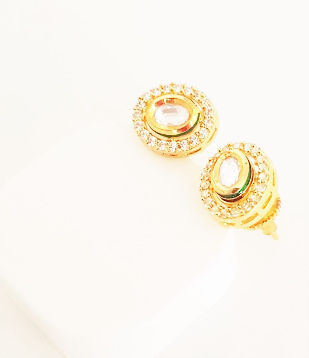 Oval Shaped White Stud Earrings