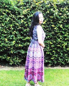 Floral Print Sleeveless Pink Shades Handmade Summer Dress