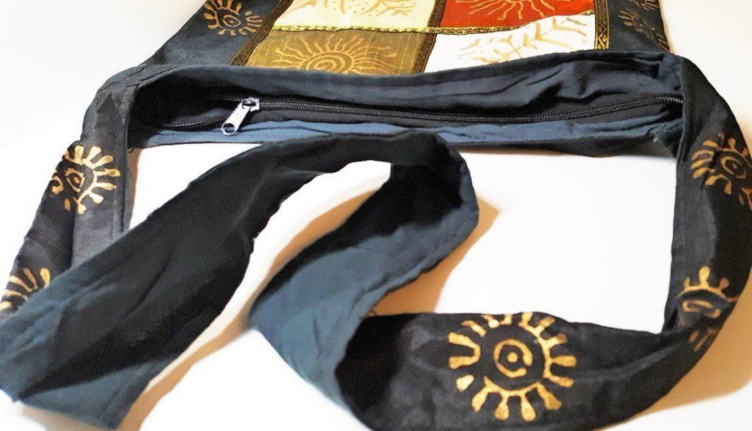 Shell Print light Cotton Shoulder Bag Black