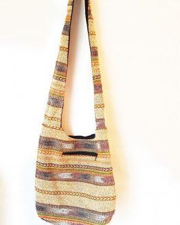 Vintage Brown Multi print Cotton Shoulder Bag