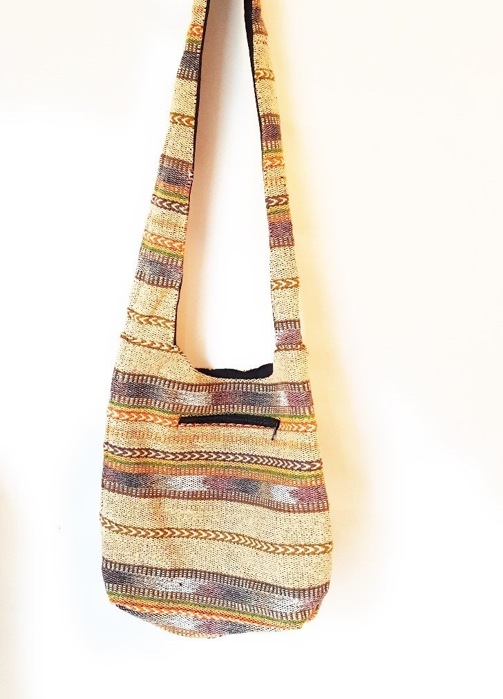 Vintage Brown Multi print Cotton Shoulder Bag