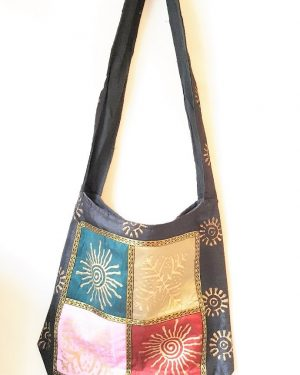 Shell Print light Cotton Shoulder Bag Black