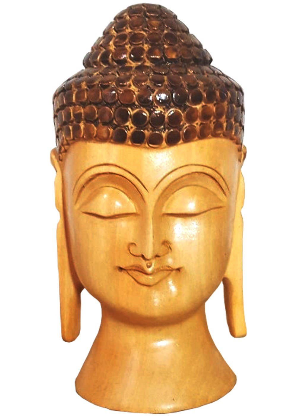 Hand Carved Peaceful Buddha Head Figurine