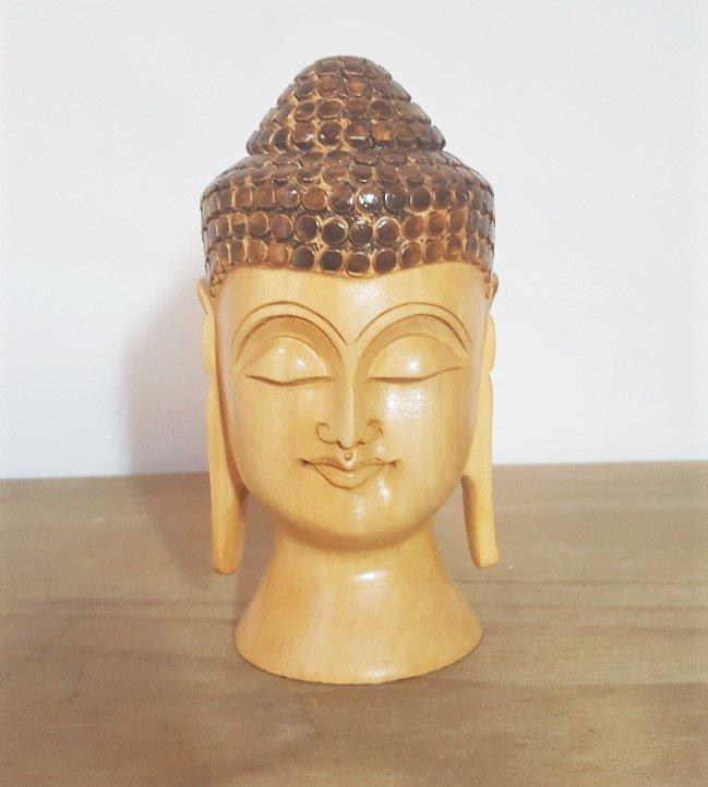 Hand Carved Peaceful Happy Buddha Head Figurine