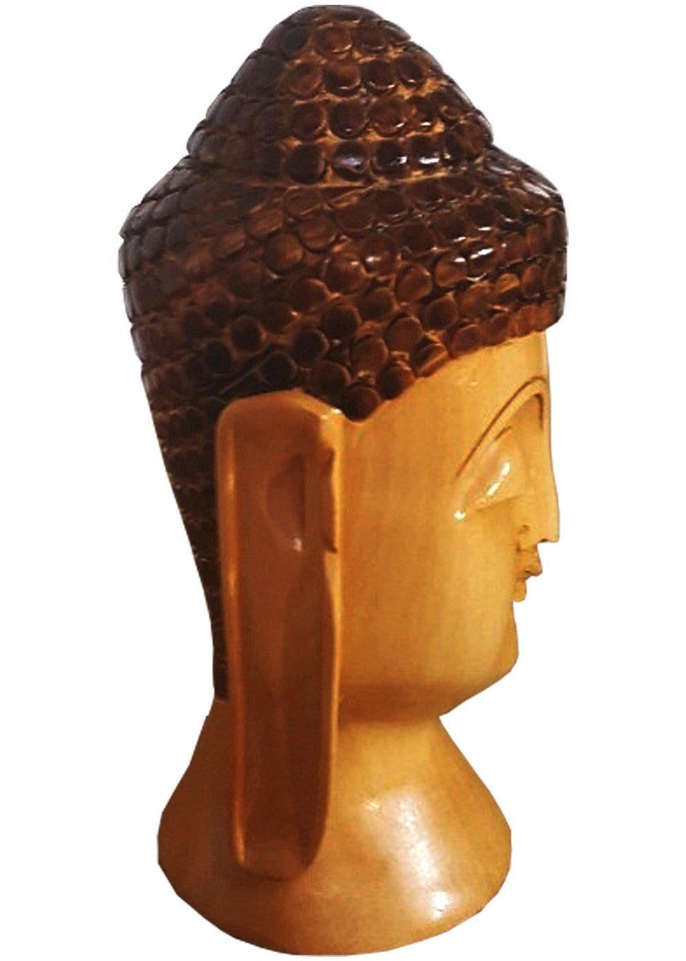 Hand Carved Peaceful Buddha Head Figurine