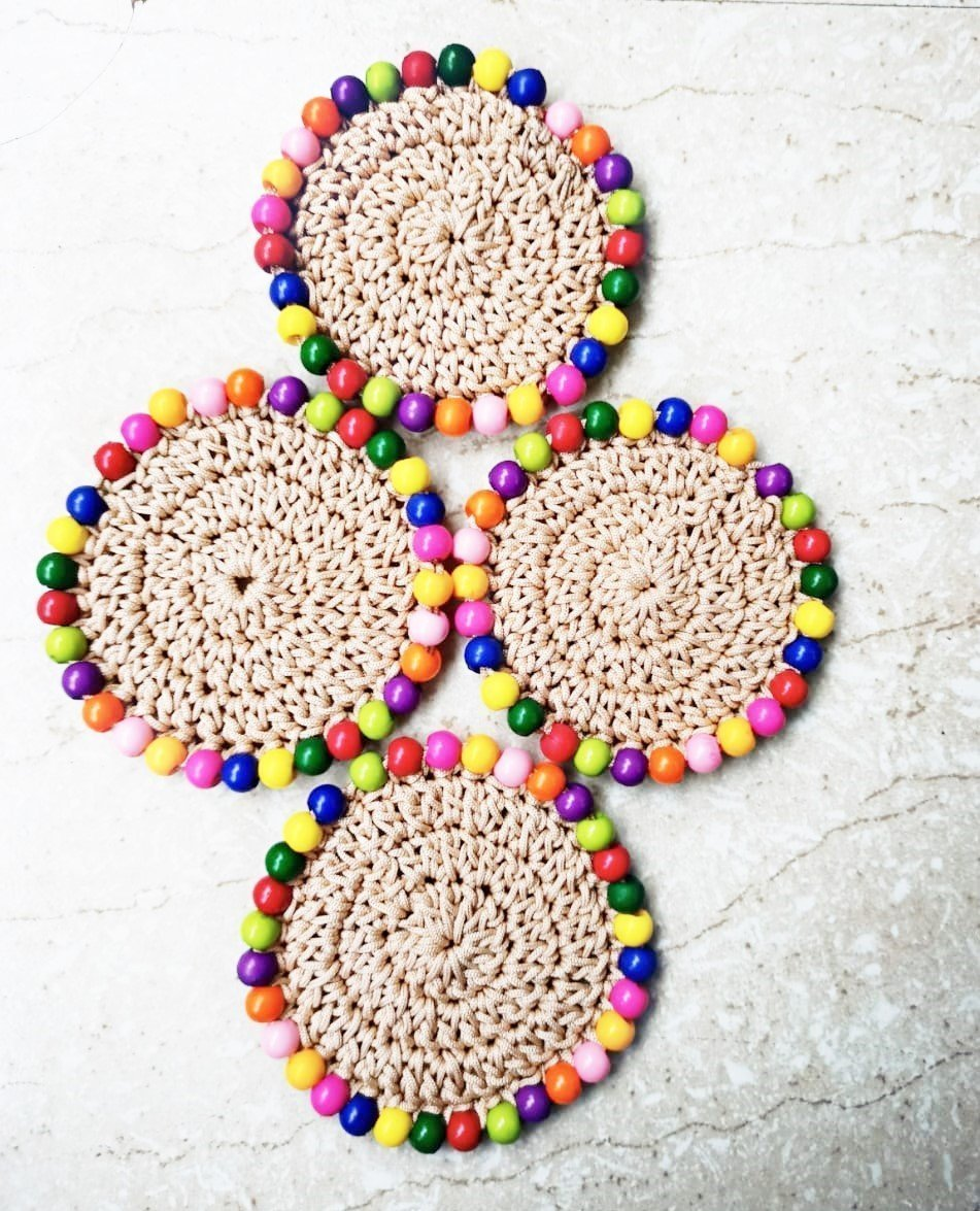 Crochet Coasters with Beads