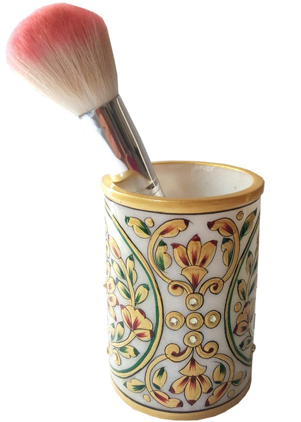 Fine Art work Golden Embossed Painted Marble stone Pen Pot
