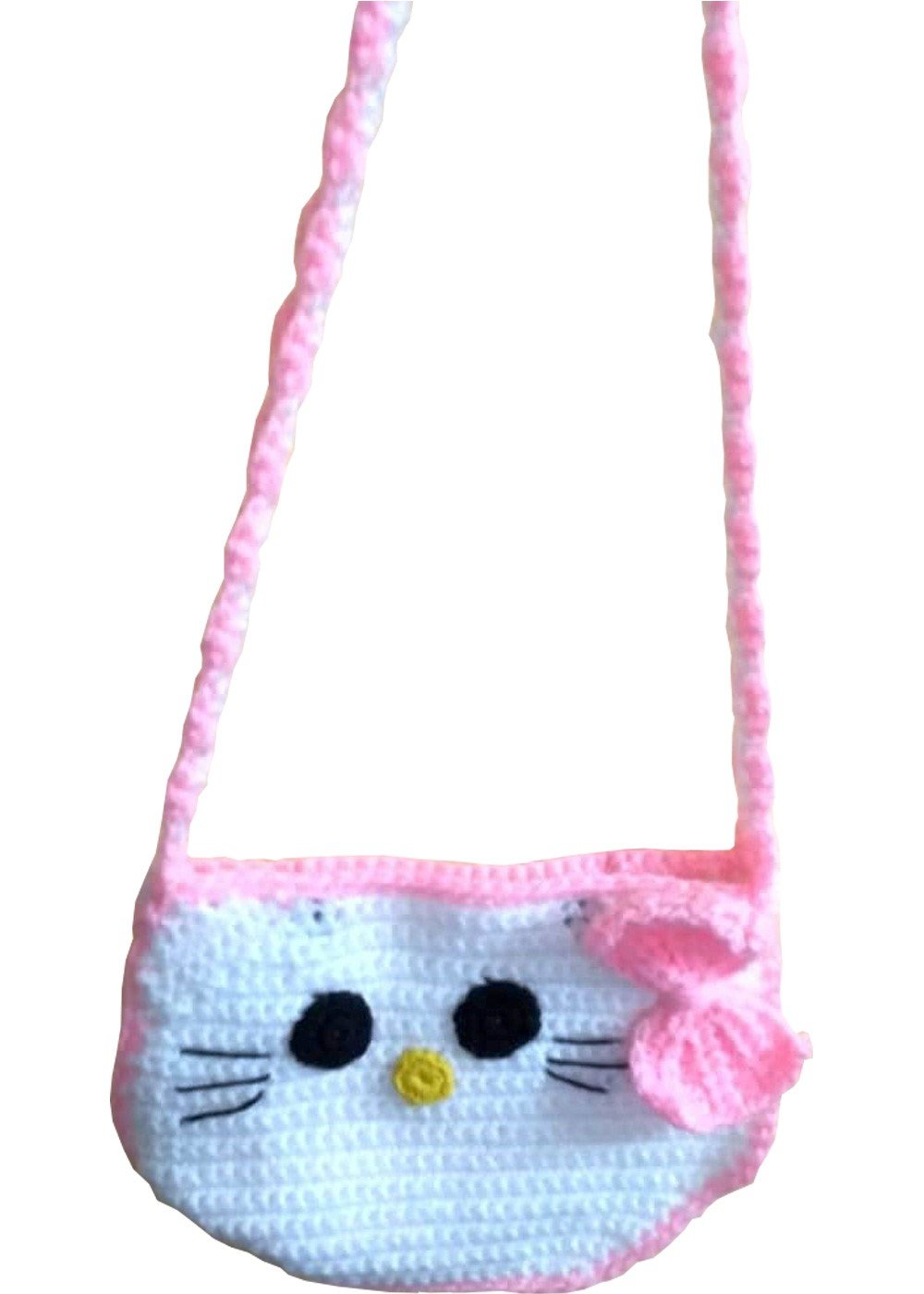 Hand Crochet Hello Kitty Pink Bow Tie Sling Purse