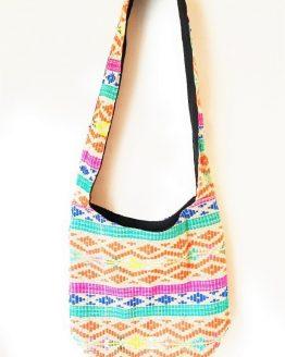 Diamond Print Multicoloured Cotton Hobo Bag