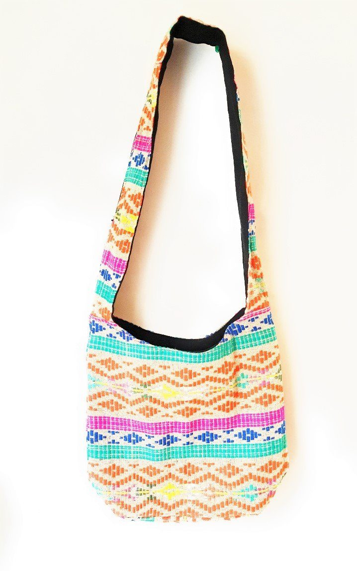 Diamond Print Multicoloured Cotton Hobo Bag