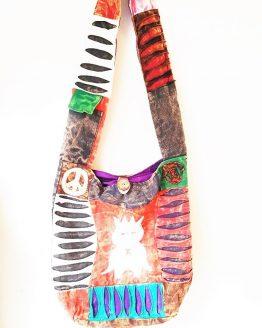OWL PRINT ETHNIC PATCHWORK HIPPIE BOHO SHOULDER BAG