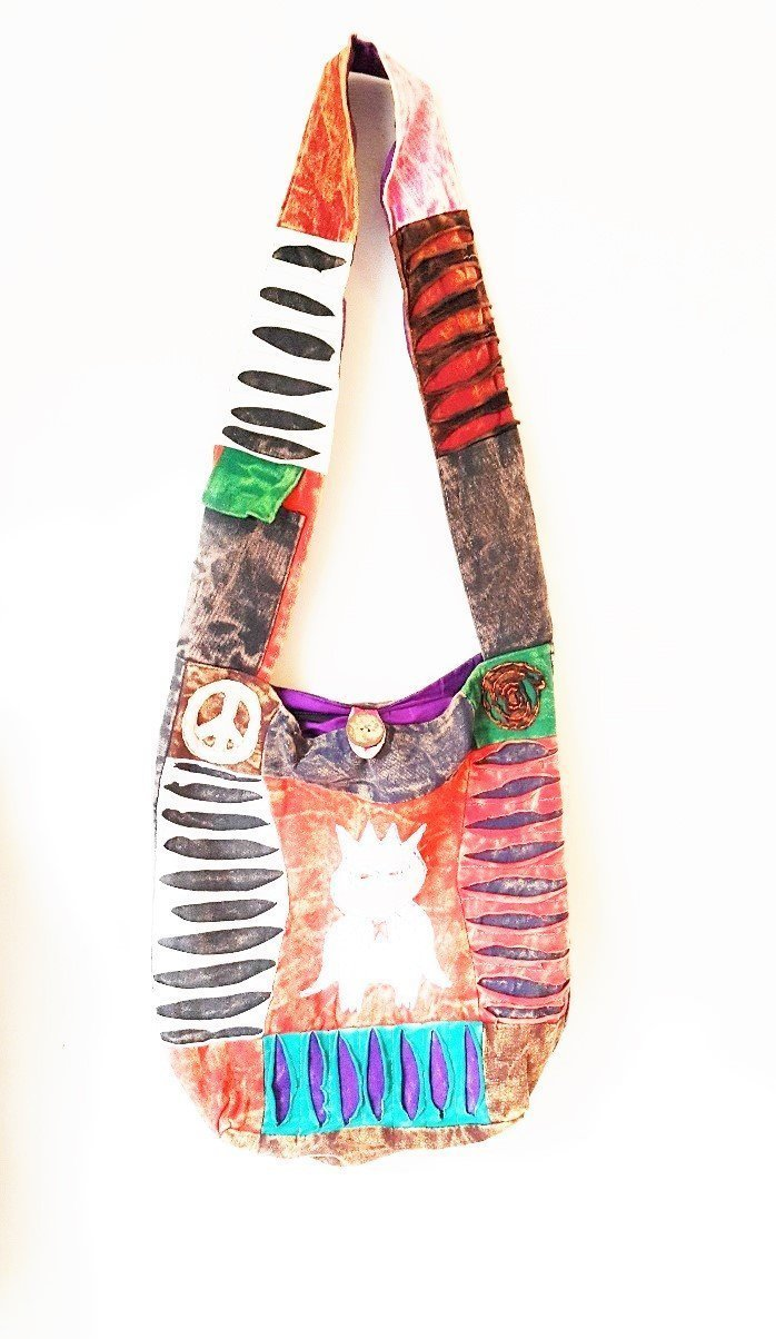 OWL PRINT ETHNIC PATCHWORK HIPPIE BOHO SHOULDER BAG