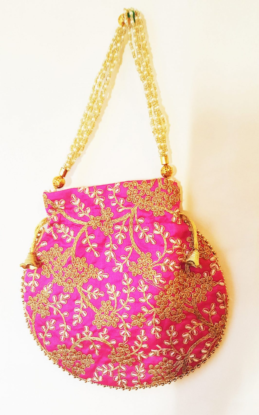 Pink Pouch Bag with Zari work