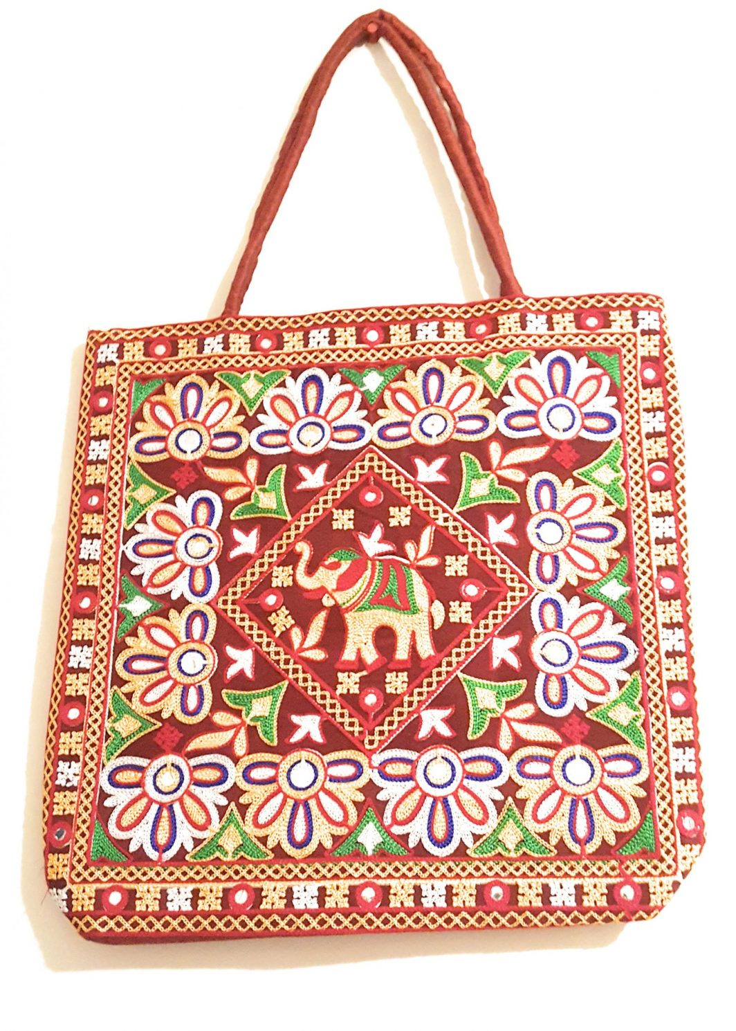 Traditional Elephant Print Ethnic Red Tote Bag