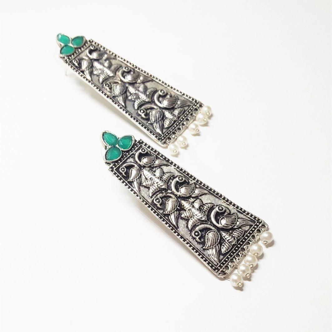 Peacock Pattern Oxidized Earrings