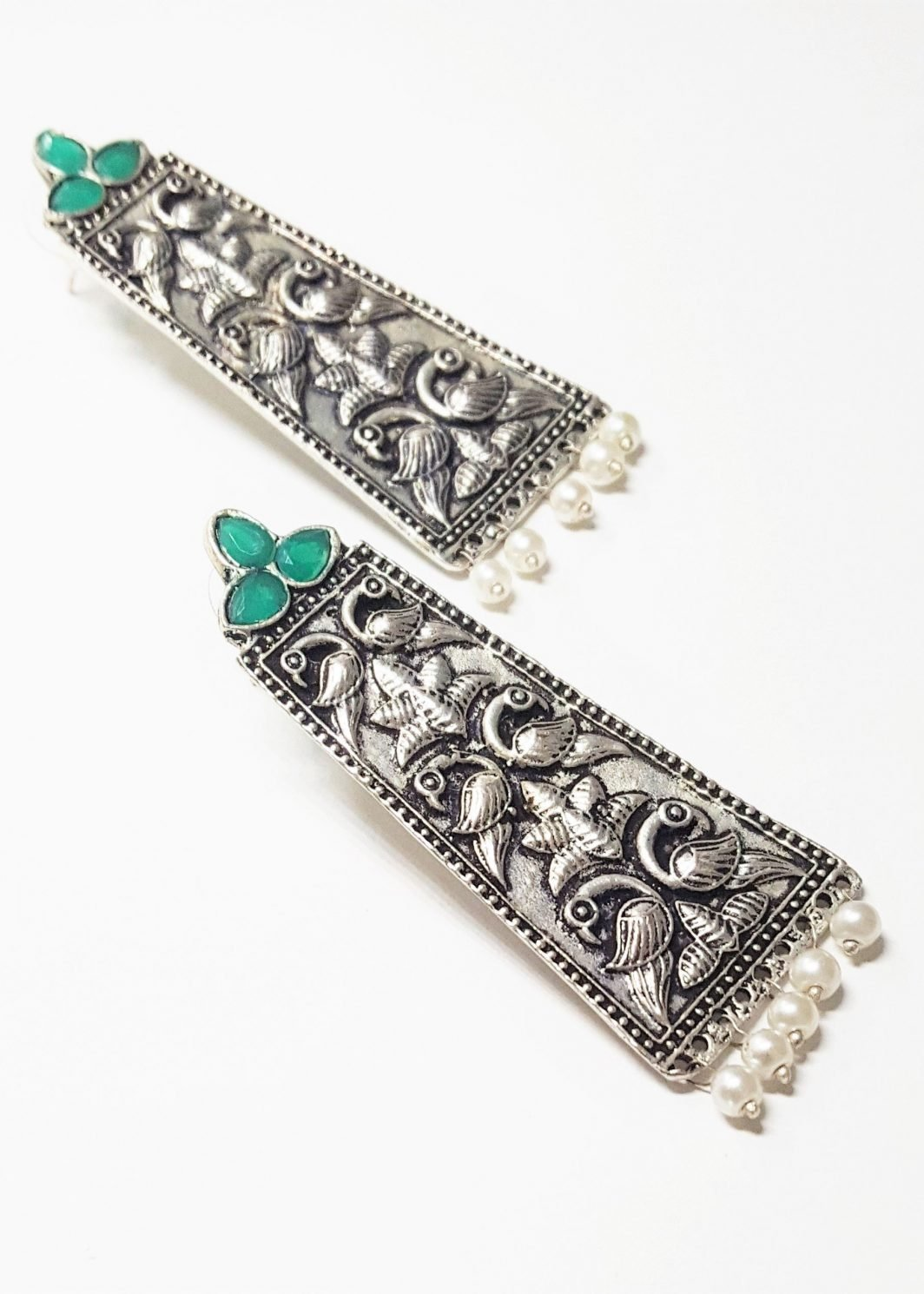Peacock Pattern Oxidized Earrings