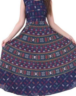 Rectangular Mandala Block Print Navy Blue Handmade Midi Dress