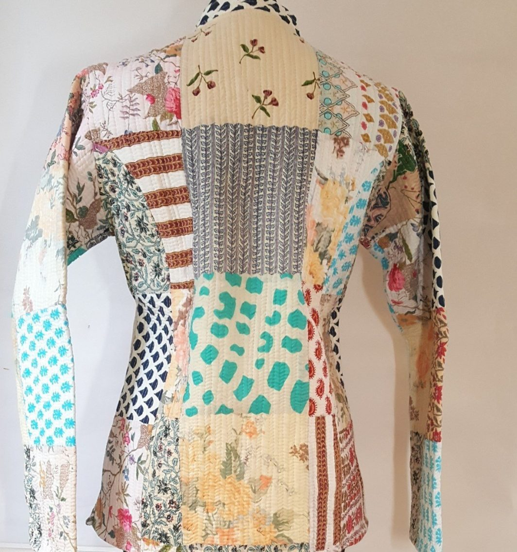 Handmade Recycled Patchwork Quilted Jacket Reversible