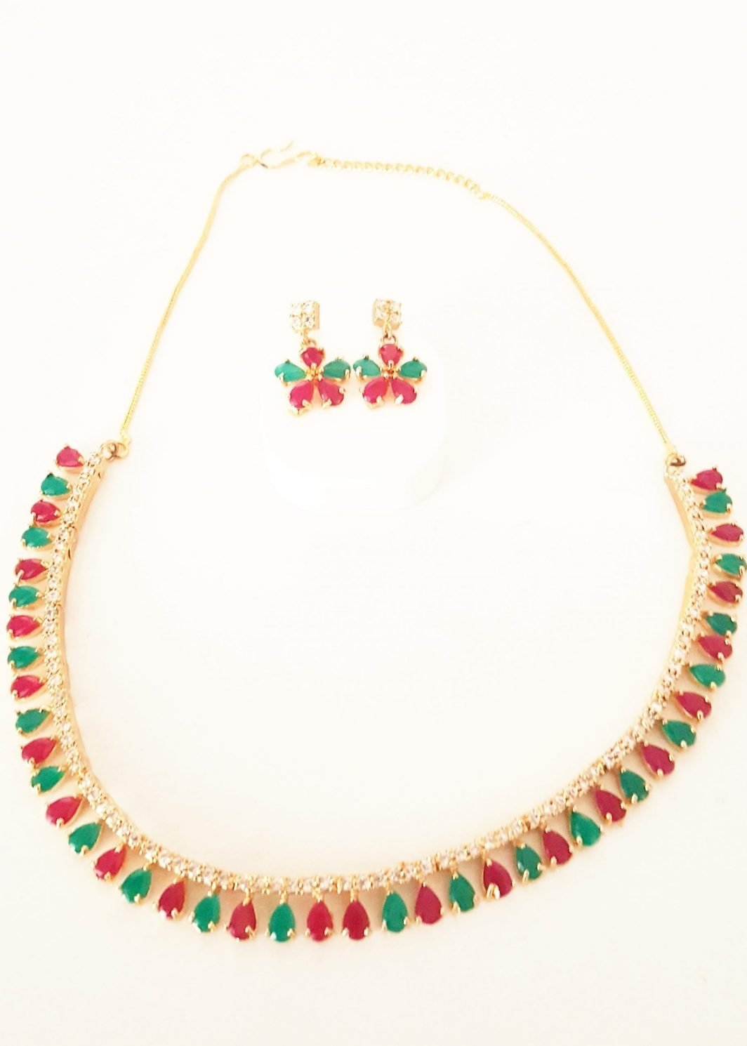 Coloured Stones Necklace with Earrings