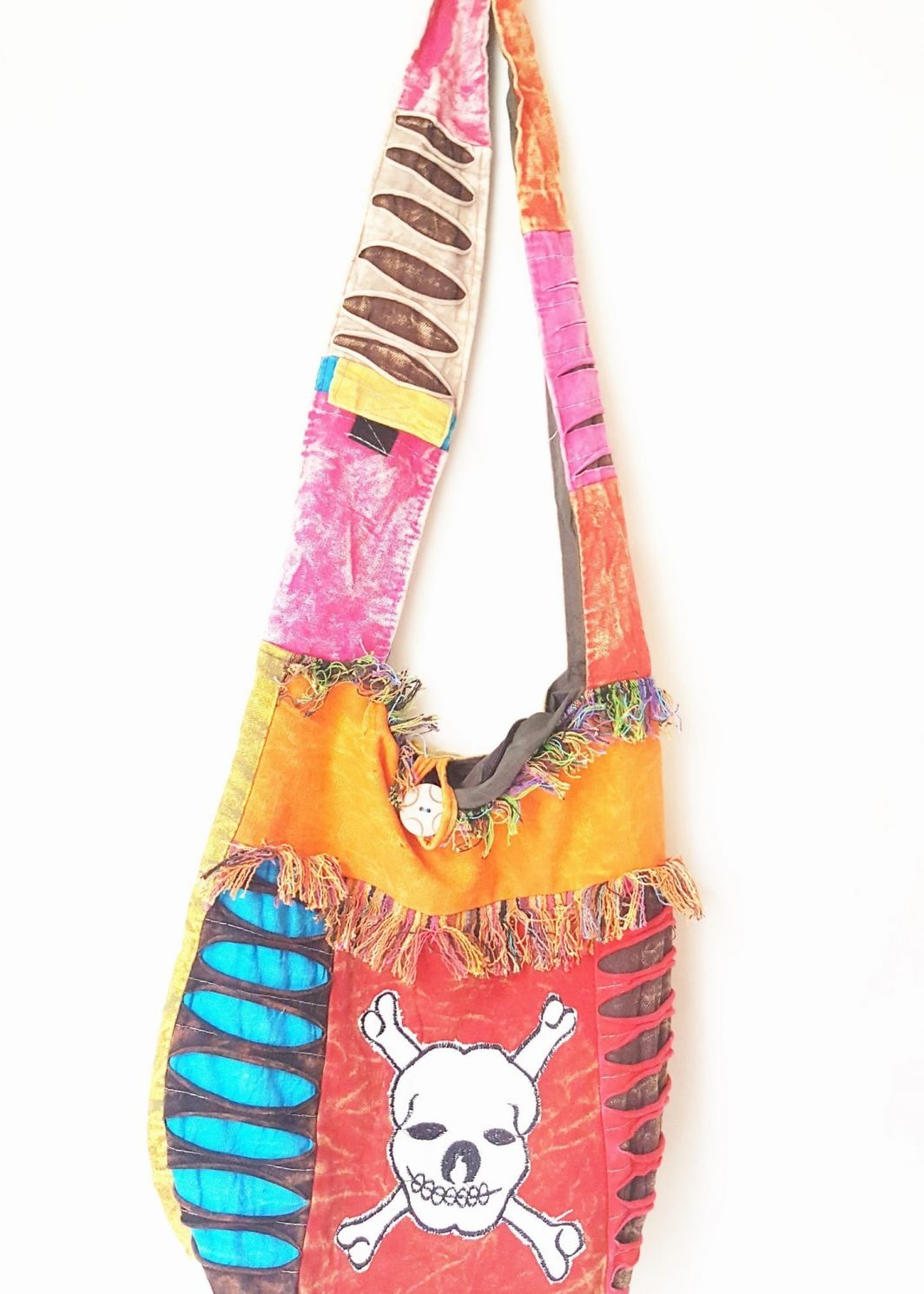 SKELETON PRINT HIPPIE BOHO BAG COTTON