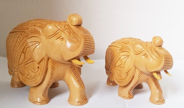 Hand Carved Wooden Elephants - set of 2