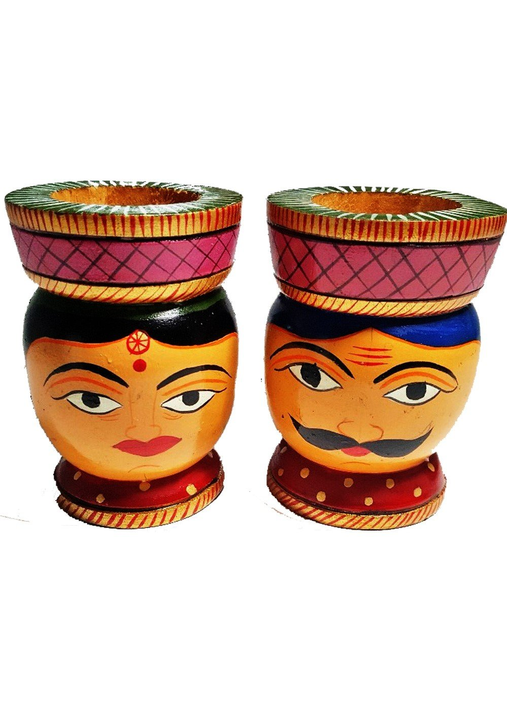Hand carved Hand painted Tealight holders