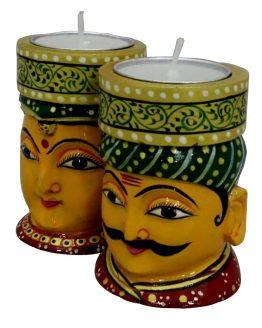 Hand Carved Tea light holders - man - woman figure