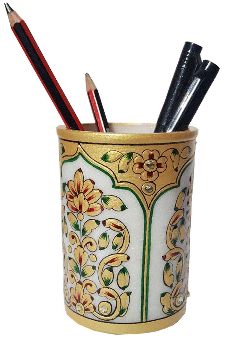 Fine Art work Golden Embossed Painted Marble stone Pen Pot