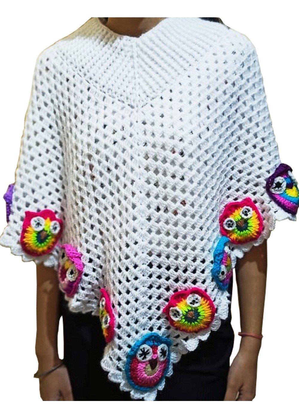 Hand crocheted Girls Poncho