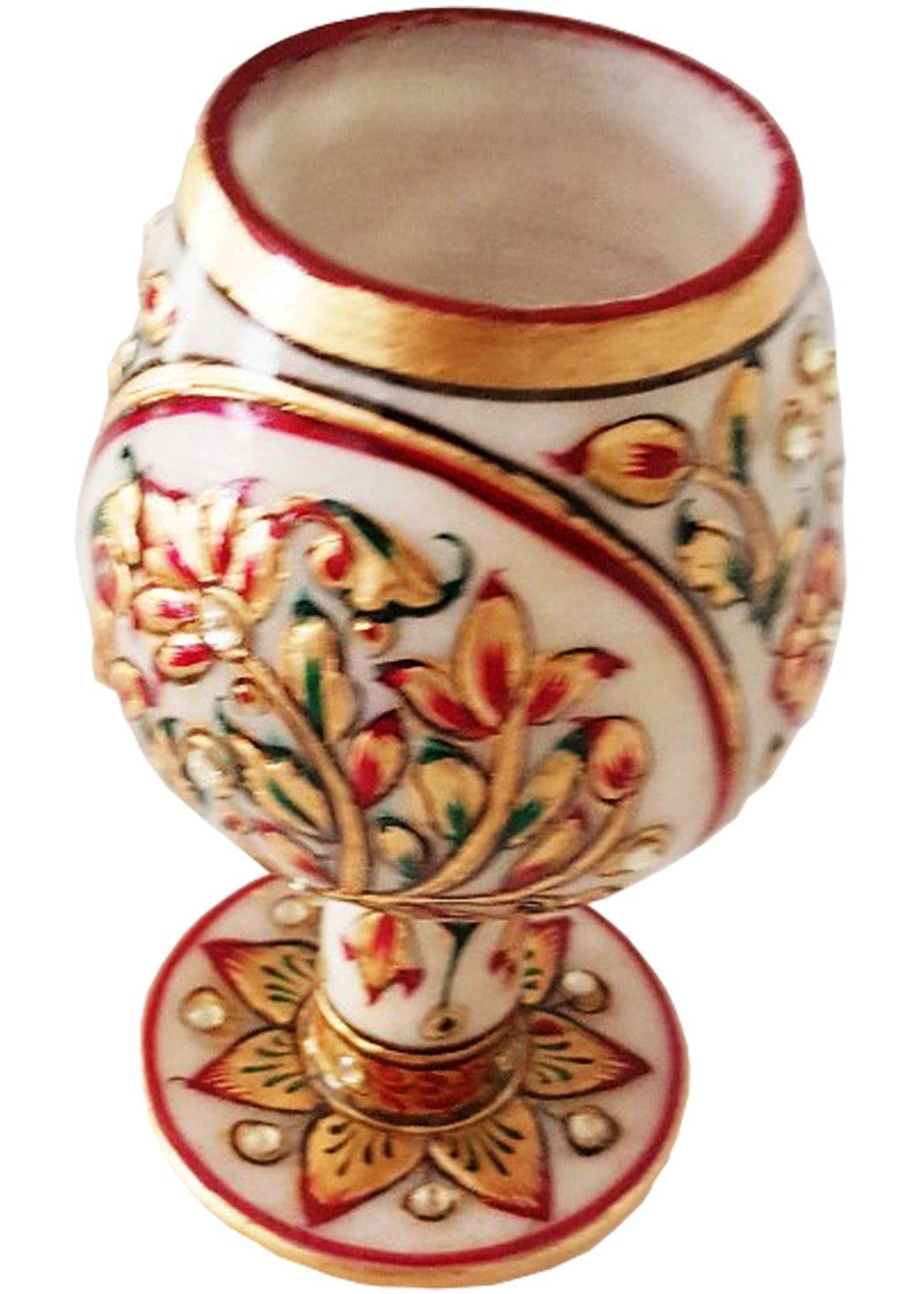 Marble Stone Wineglasses-floral pattern