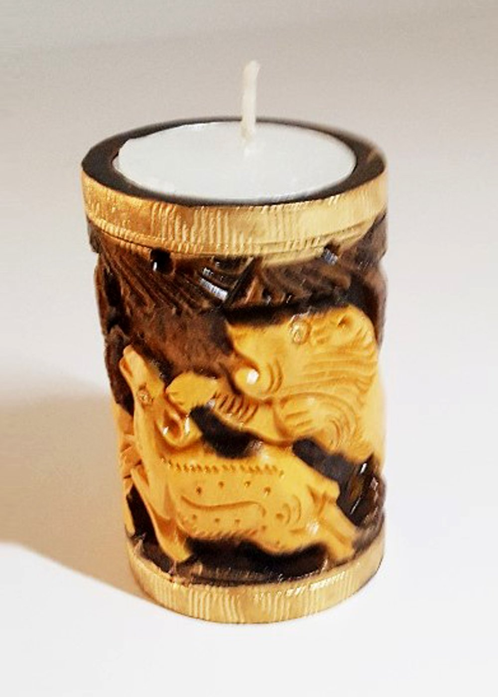 Hand carved Jungle animals Tealight holder - Brown and polished