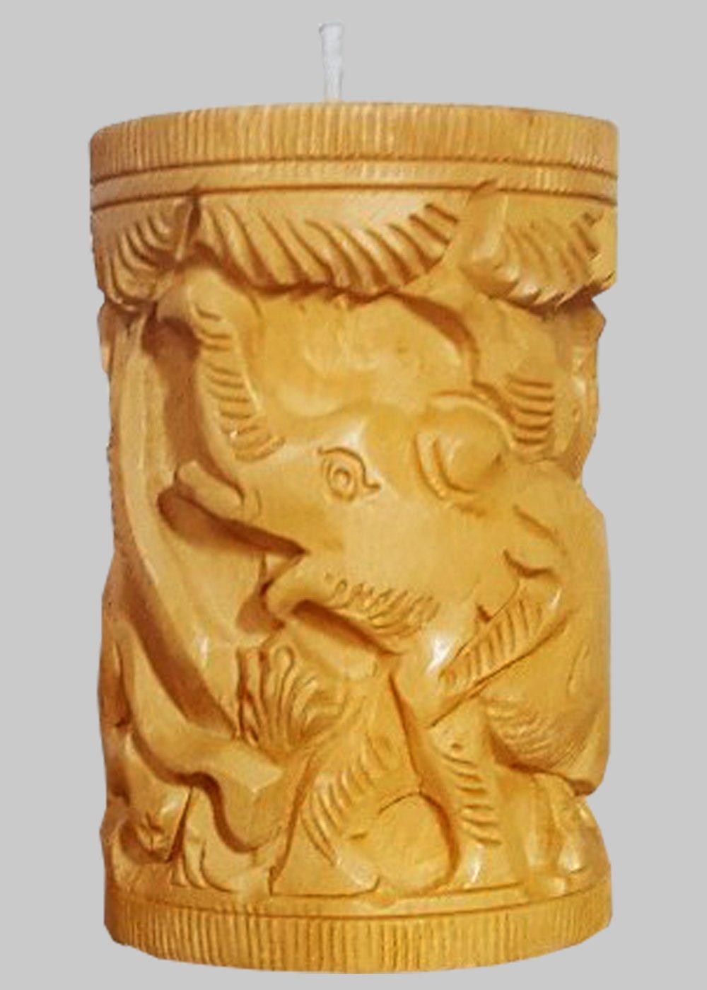 Hand Carved Jungle animals Tea light holder- Natural