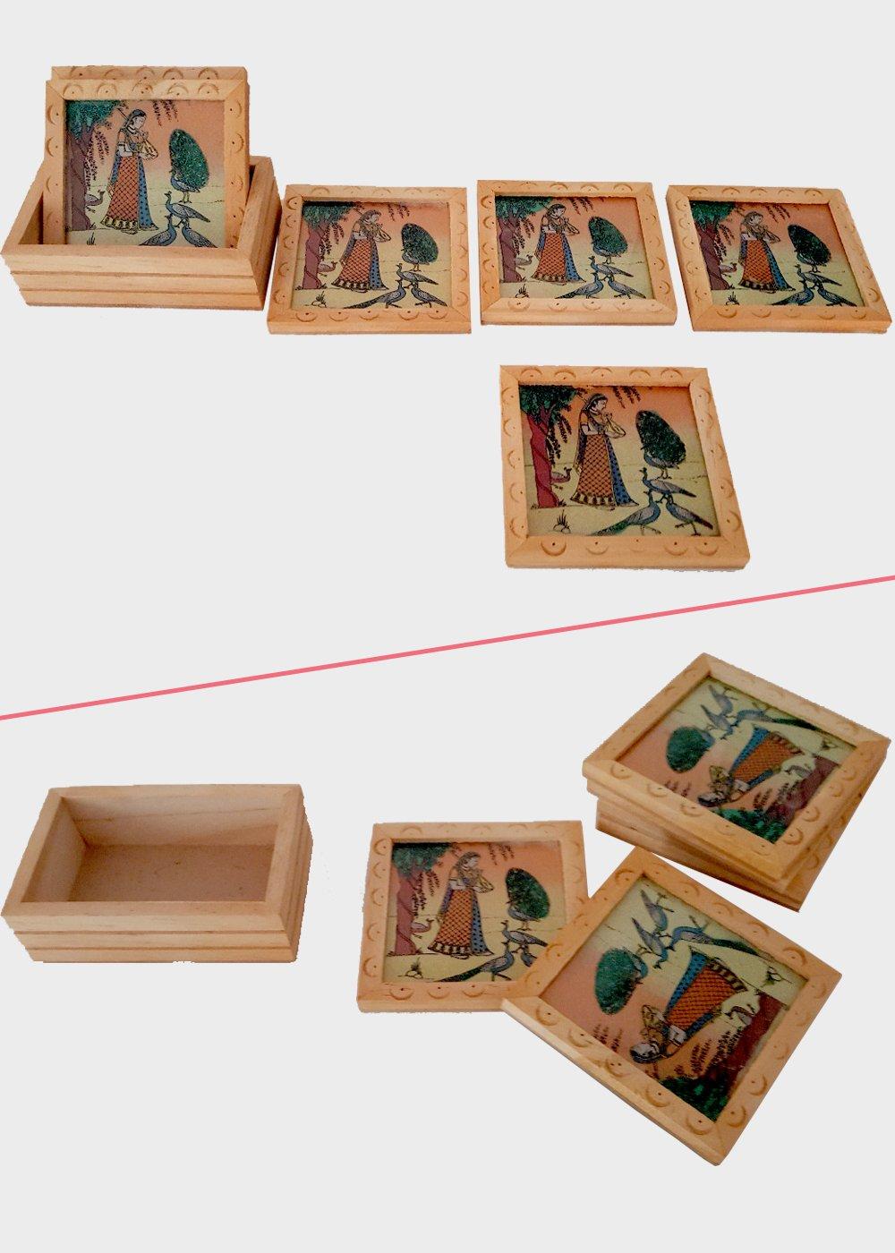 Gemstone work tea coasters - Set of 6
