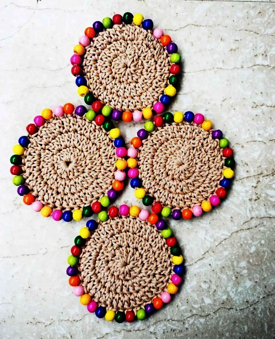 HAND CROCHET COASTERS WITH BEADS