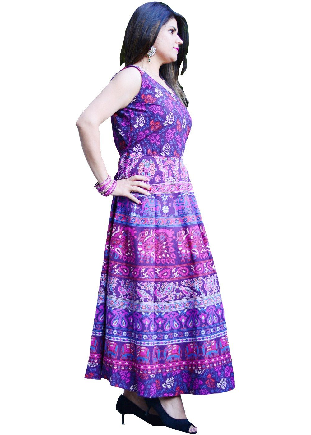 Nature Print Handmade Maxi Dress Magenta Pink