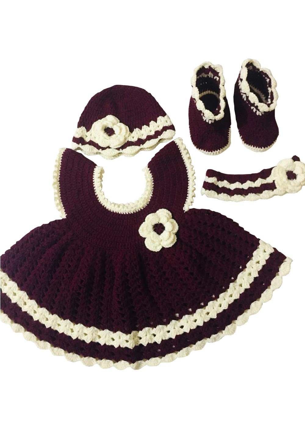 Hand Crocheted Baby dress 4 Piece Set