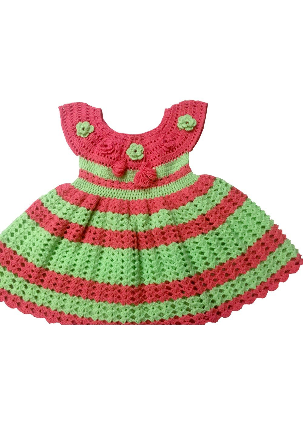 Hand Crocheted Peach Pistachio Green Baby Dress