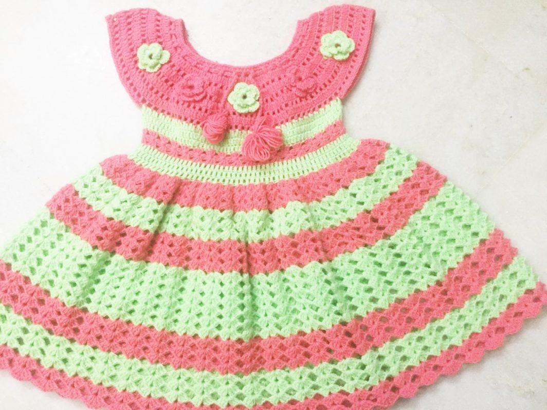 Hand Crocheted Peach Sea Green Baby Dress