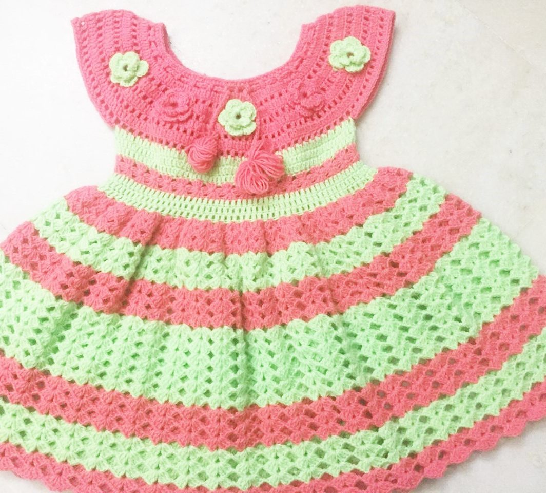 Hand Crocheted Peach Sea Green Baby Dress