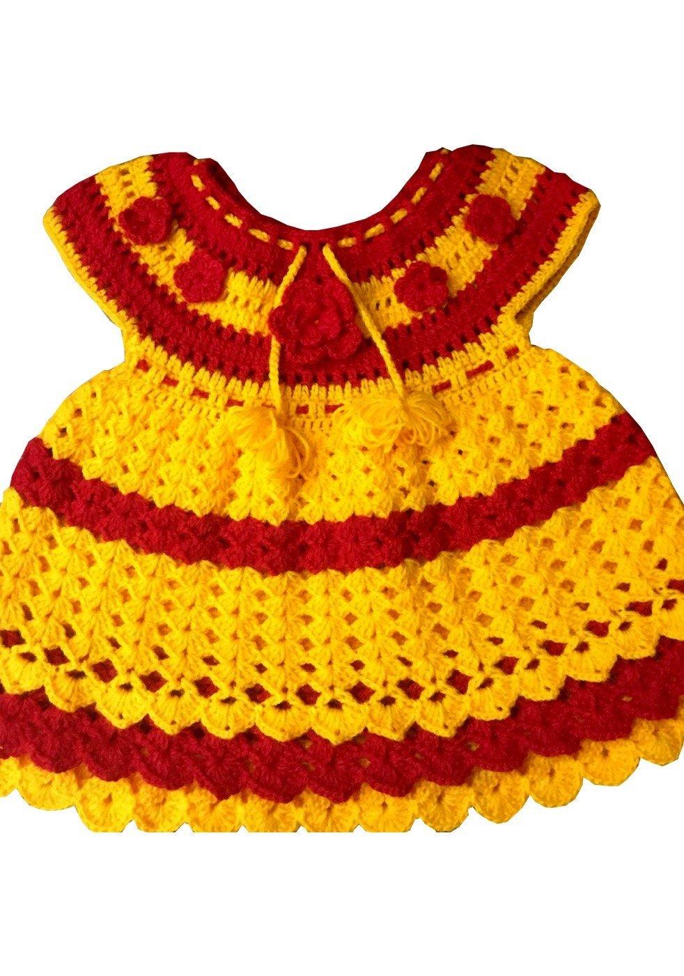 Hand Crocheted Yellow Red Baby Dress