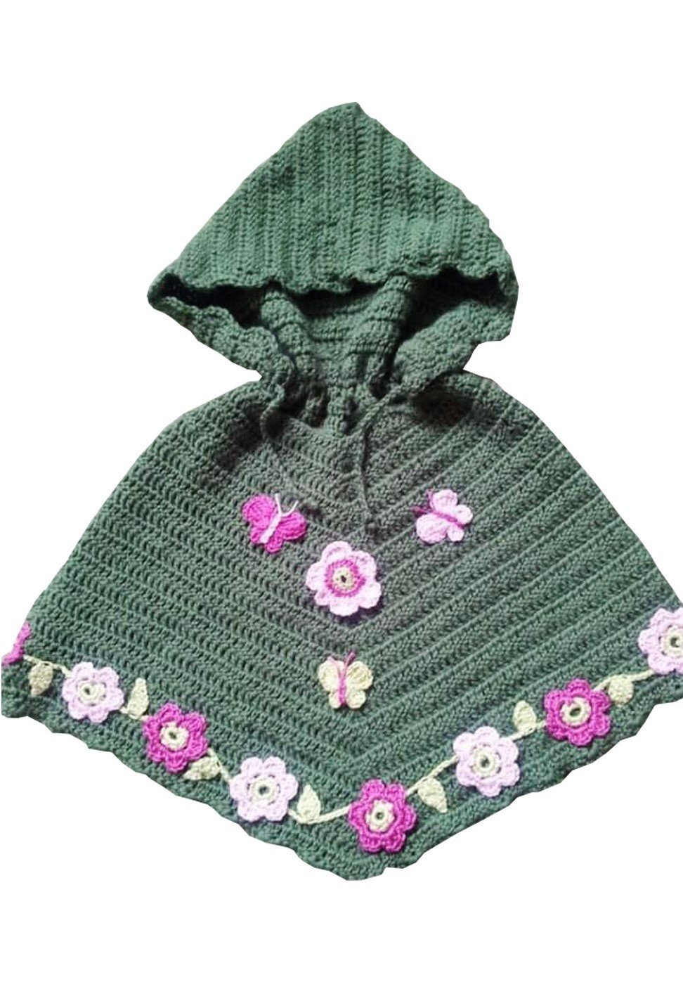 Hand Crocheted Hooded Girls Poncho