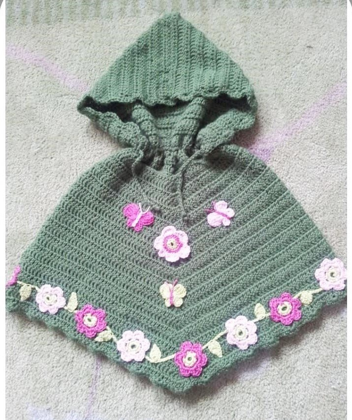 Hand Crocheted Hooded Poncho