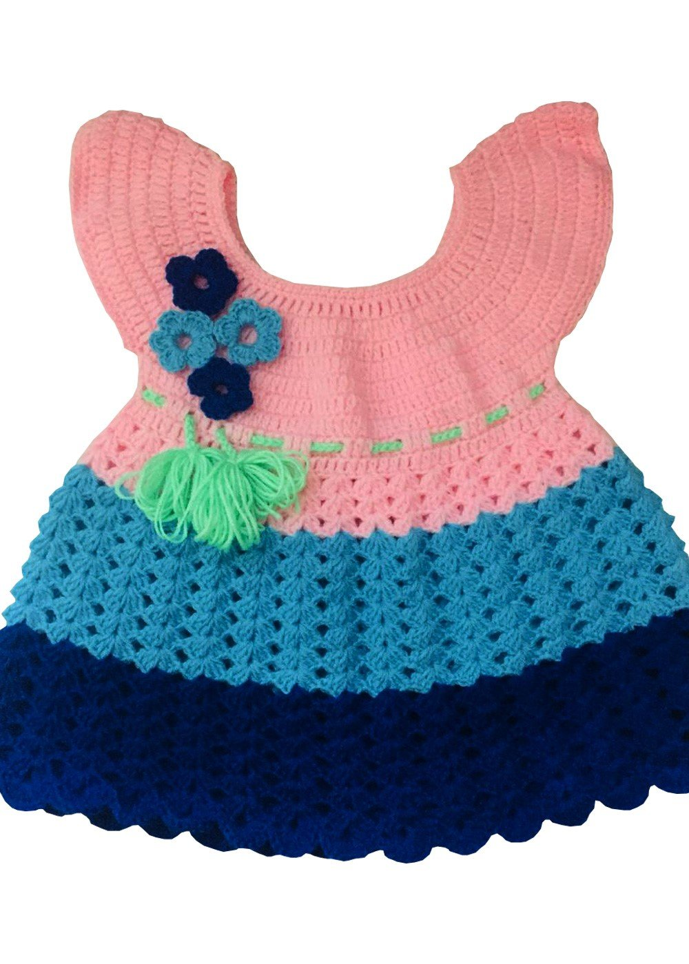 Hand Crocheted Dress Baby Pink and Blue