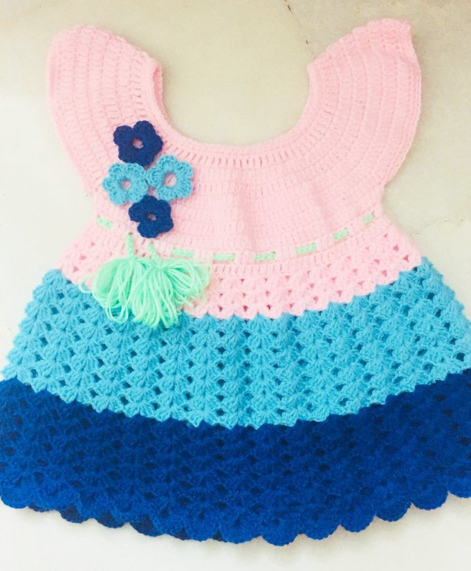 Hand Crocheted Baby Pink & Blue Dress
