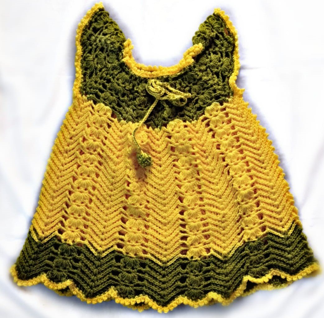 Hand Crocheted Lemon Yellow and Sea Green Baby Dress
