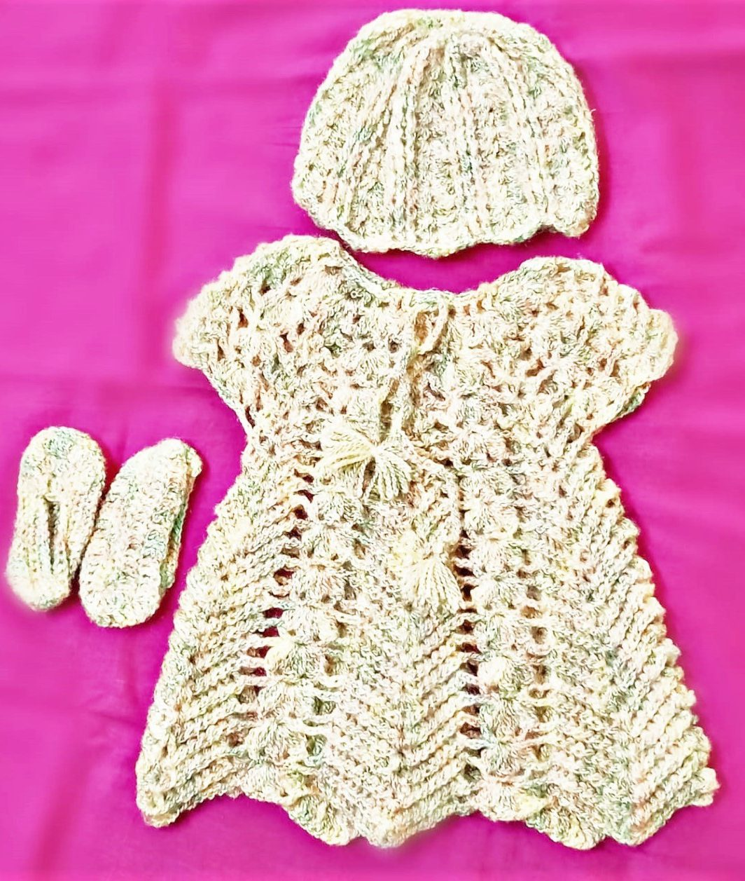Hand Crocheted Baby Dress 3 Piece Set